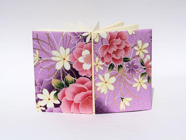 御朱印帳 金彩友禅 牡丹糸菊(藤紫)(五)