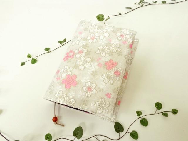 スケジュール帳・システム手帳・ブックカバー 金襴 うす墨の桜
