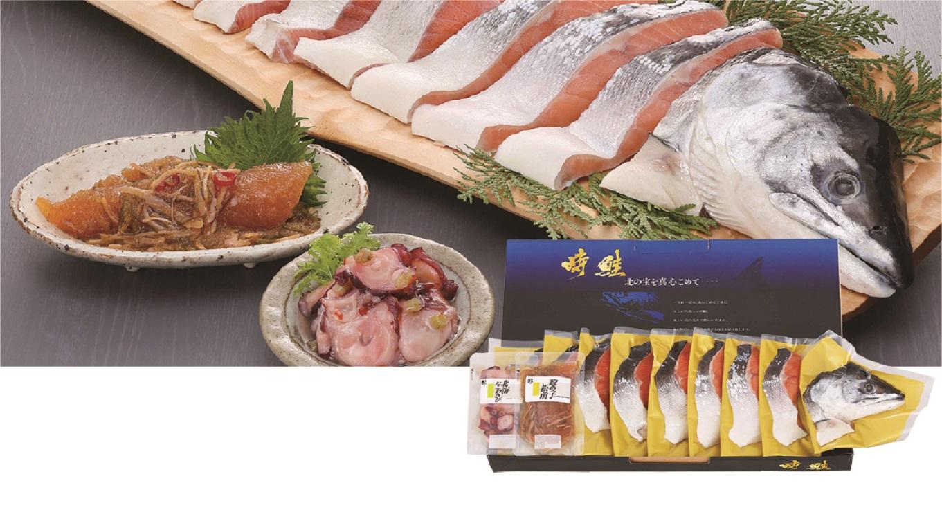 タカヒロ 塩時鮭(半身姿切身)と珍味セット 【D9910】
