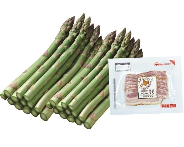 <北海道産><ハウス栽培>グリーンアスパラガス Lサイズ ・切り落とし熟成ベーコンセット 約600g 【021】