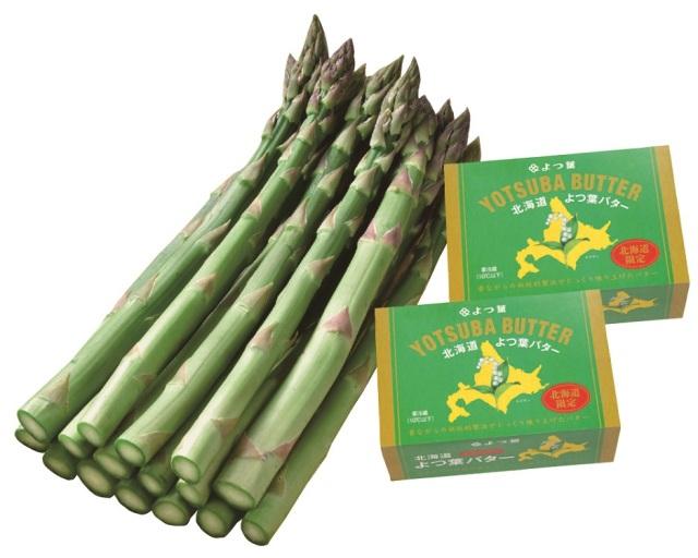 <北海道産>グリーンアスパラ L~Mサイズ 北海道よつ葉バターセット 約400g 【025】