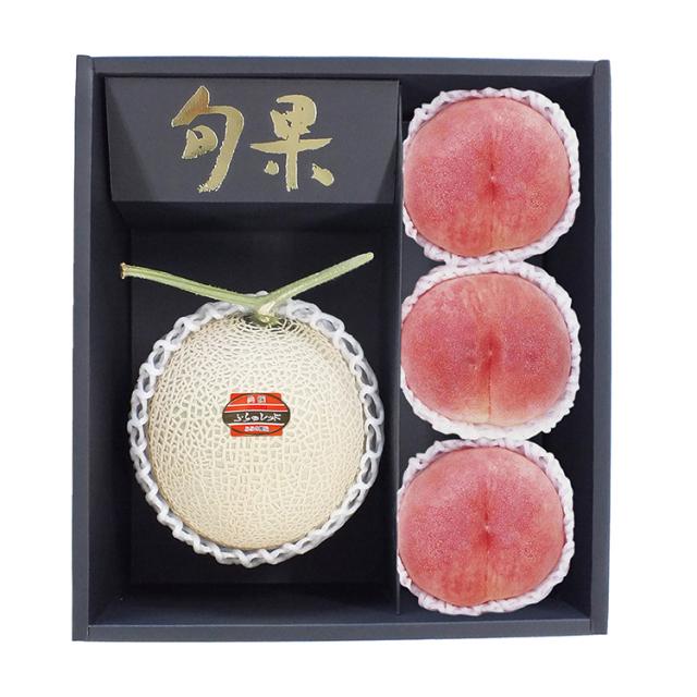 北海道産 富良野メロン+山梨産 桃 【046】