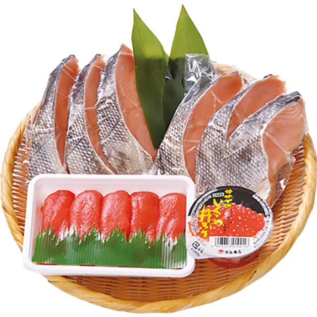 北海道産の新巻鮭と魚卵セット 【025】