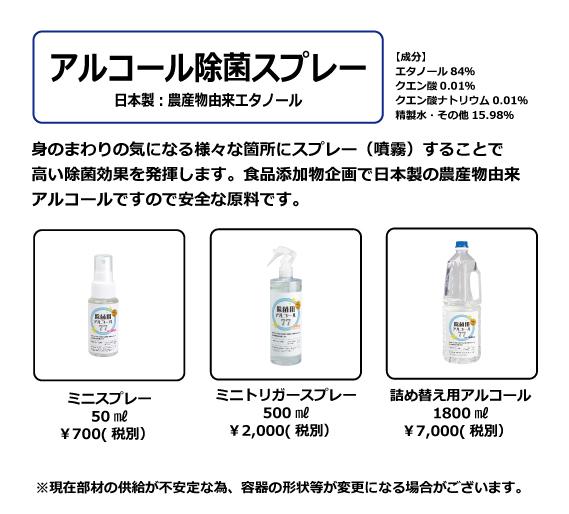 アルコール除菌スプレー(日本製・農産物由来エタノール・食品添加物規格)