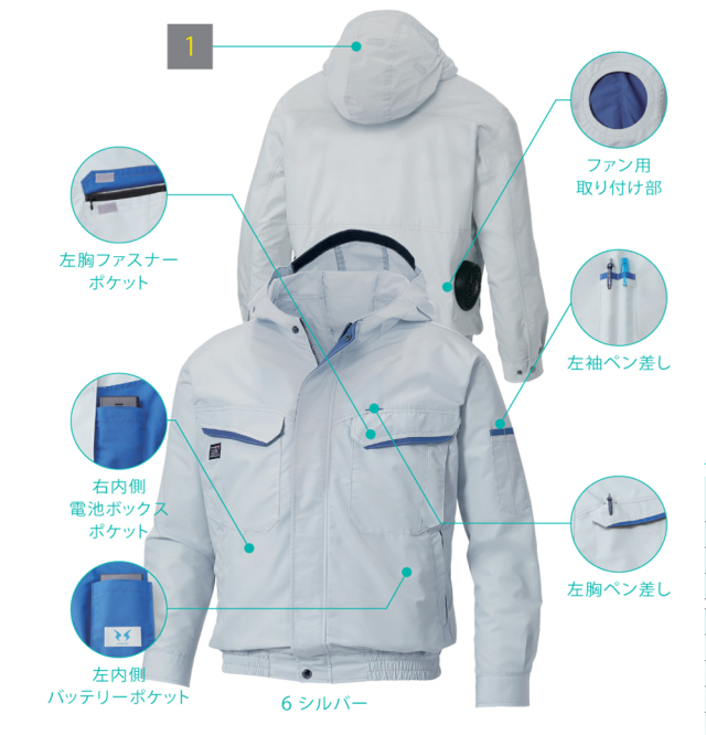 SUN-S(サンエス) KU90480 フード付長袖ブルゾン(ファン・バッテリーセット)