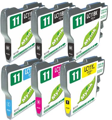 インクカートリッジ LC11(BK:3、C、M、Y) 汎用品(新品・ノーブランド)<6個入>
