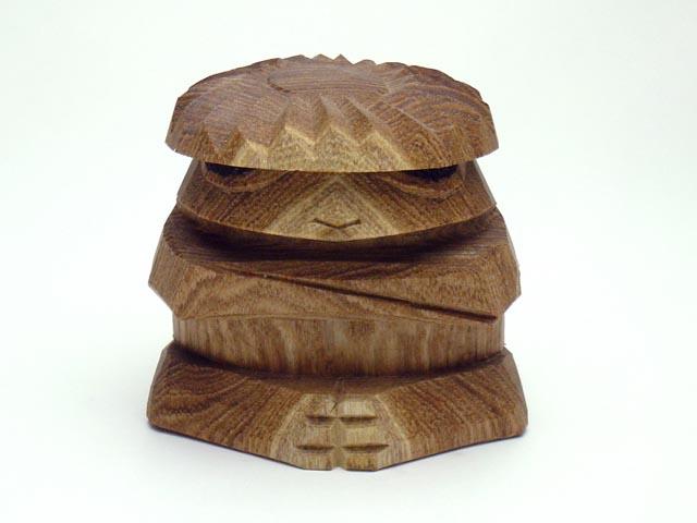 木彫り河童【えんじゅ】(中)単体売り1