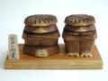 木彫り河童【えんじゅ】(中)めおとセット1