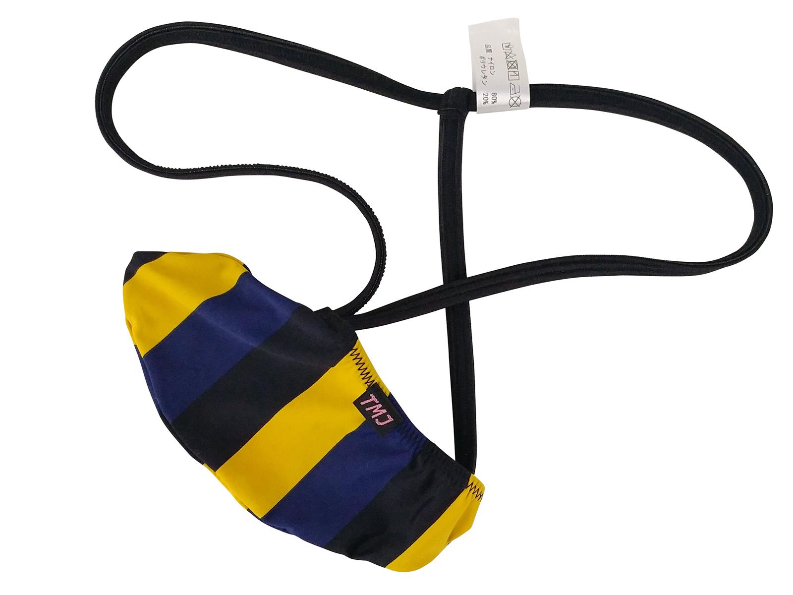 メンズ  黄×青ボーダーゆったりポーチGストリング下着(3055930)