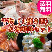 日本海産干物3種9匹と秘伝の海鮮丼セットB 送料無料