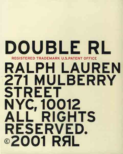 Double RL RRL Ralph Lauren 2001 Catalog