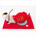 正月飾り 「猫の目出鯛飾り」 龍虎堂 リュウコドウ ちりめん細工  正月飾り 日本製