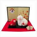 干支・申年 「紅白 梅柄 親子申 」 龍虎堂 ちりめん  正月飾り 日本製 置物
