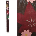 【送料無料】細タペストリー「紅葉に秋桜」京都洛柿庵(らくしあん)麻100% 和モダンインテリア