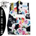 【本染注染】こども浴衣 「ばら」 紺色 日本製 女児100センチ 3・4歳用