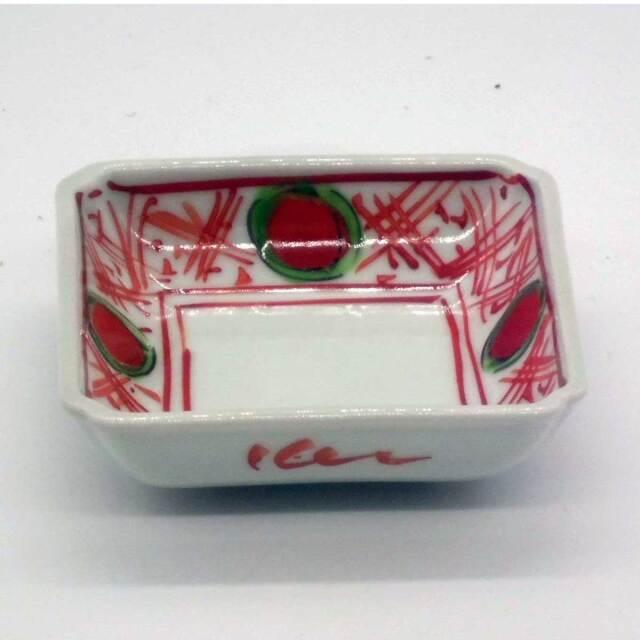 有田焼 色絵 錦地紋 赤玉 角小皿