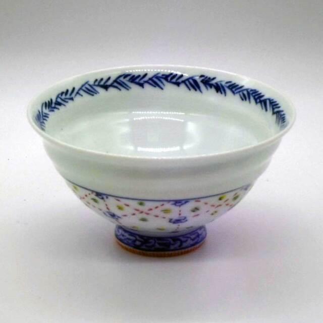 有田焼 色絵 瓔珞紋 めし碗