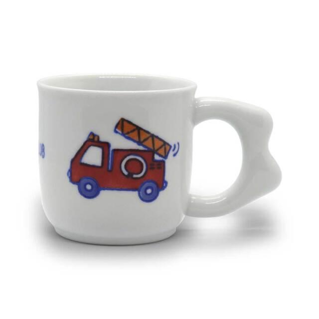 有田焼 色絵 子供食器 消防車 マグカップ