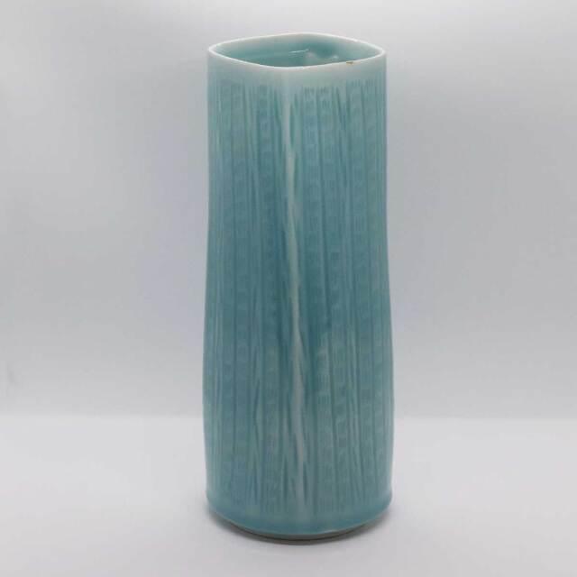 青白磁 筒 花器