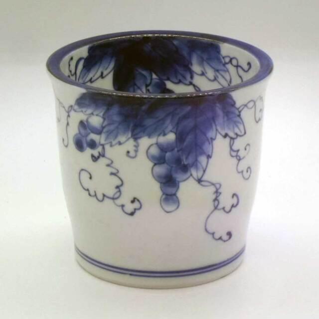 有田焼 染付 ぶどう絵 鉢カバー