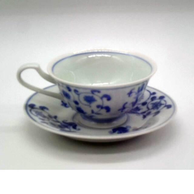 有田焼 染付 チューリップ コーヒー碗 草山窯