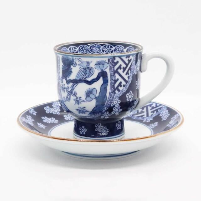 新祥瑞梅花鳥コーヒー碗皿