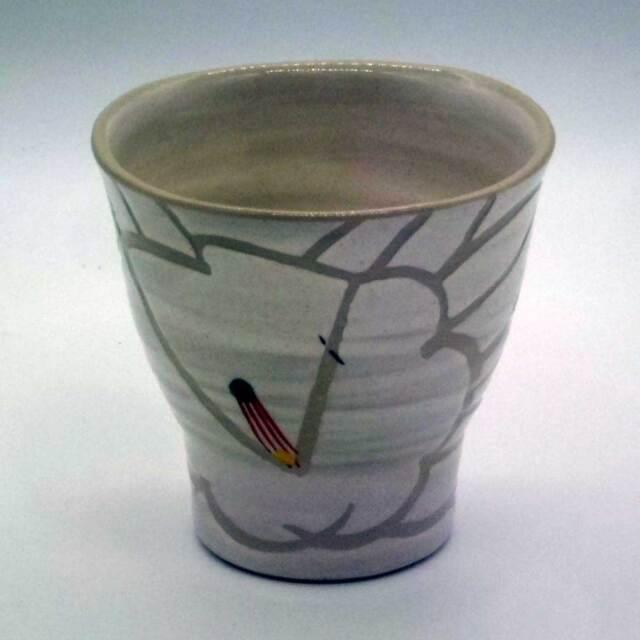 刷毛目 掻き落とし 椿 フリーカップ