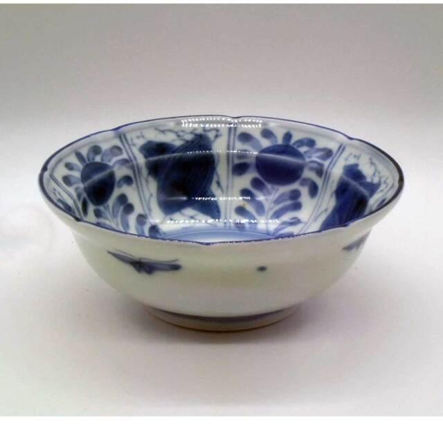 有田焼 染付 花蝶 ふよう 漬物鉢