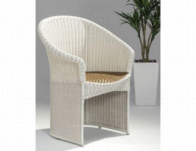 【受注生産】籐・ラタンのアームチェア/ホワイト/椅子/W650D580H820SH420/kzr-01-0106-00