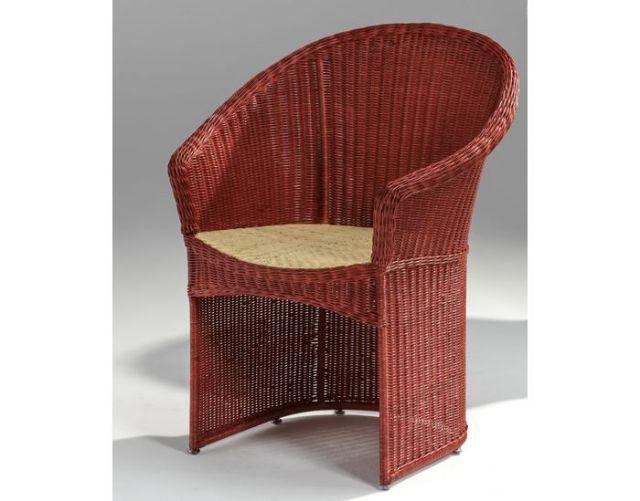 【受注生産】籐・ラタンのアームチェア/レッド/椅子/W650D580H820SH420/kzr-01-0107-00