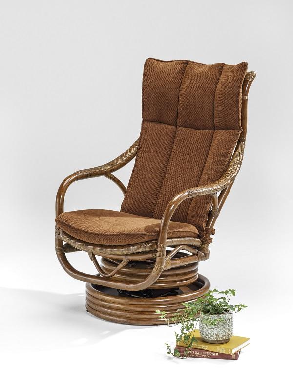 籐・ラタンのフェルテ回転ロッキング機能付きハイバック椅子/椅子/送料無料/W67XD83XH104(座面高さ42)/KZR-156-85