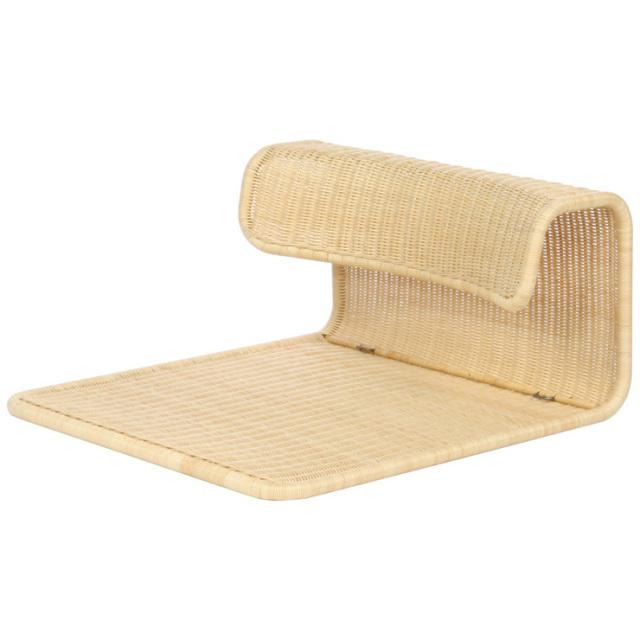 変わりデザインの幅広座椅子 YR-SF-305-NA サイズ(cm)W:60 D:65 H:33 | 天然ラタン | 【受注生産 | 送料無料】