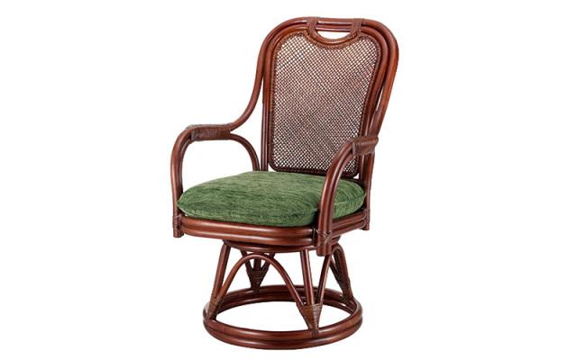 <即納>籐・ラタンの回転椅子/椅子/W59×D67×H87×SH42/高級ピール(籐皮)/即納可能/送料無料/IR-A-255LD