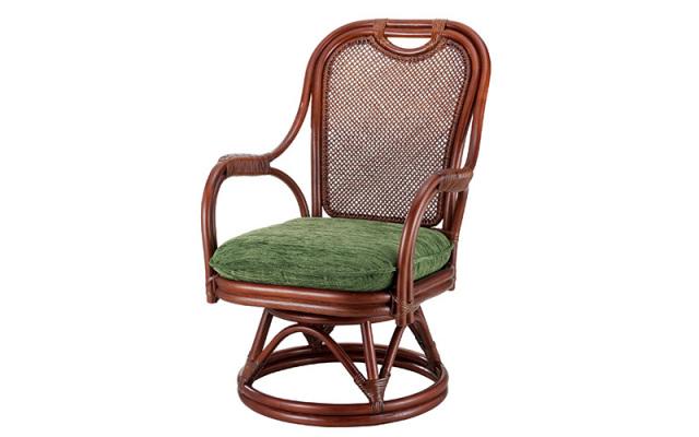 <即納>籐・ラタンの回転椅子/椅子/W59×D67×H81×SH37/高級ピール(籐皮)/即納可能/送料無料/IR-A-255MD