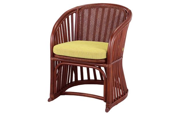 【即納】籐・ラタンのアームチェア/椅子/W61×D63×H76(SH47)/クッション付・坐面あじろ編み/即納可能/送料無料/IR-A-51D