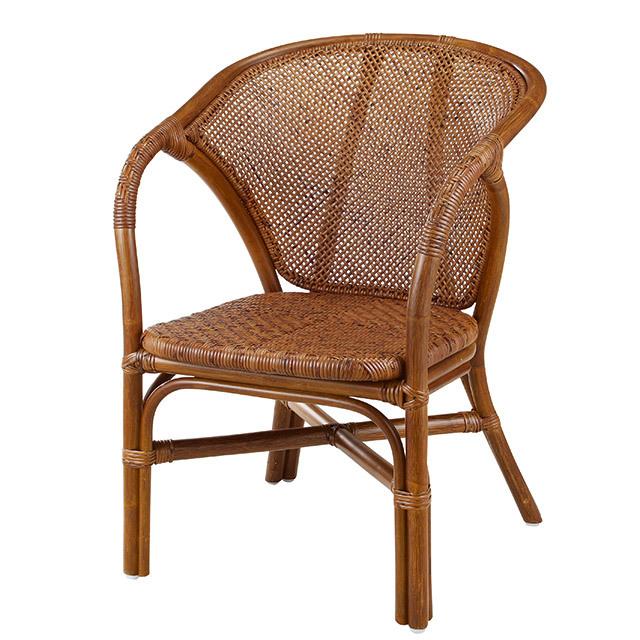【即納】籐・ラタンのアーム付ダイニングチェア/椅子/W52×D61×H75(SH38)/即納可能/送料無料/IR-140D