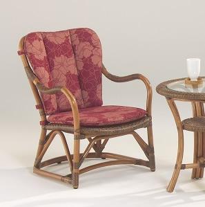籐・ラタンのルロットアームチェア/椅子/W56×D65×H73/皮籐(ピール)網代編み/スリ脚/KZR-336