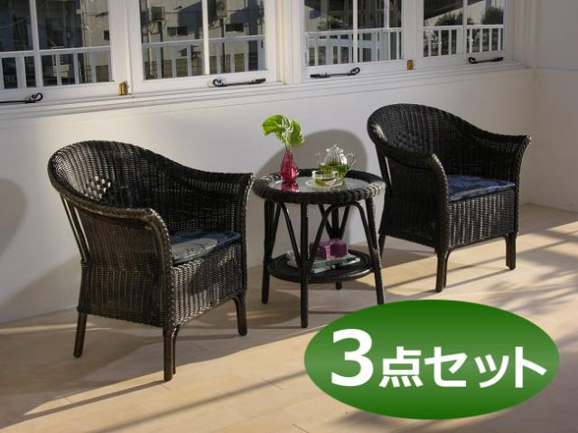 籐・ラタンの椅子・ラタンチェアスカレア3点セット/レストラン/スカレアアームチェア/丸テーブル/ロングラン/KZR-607-91-SET
