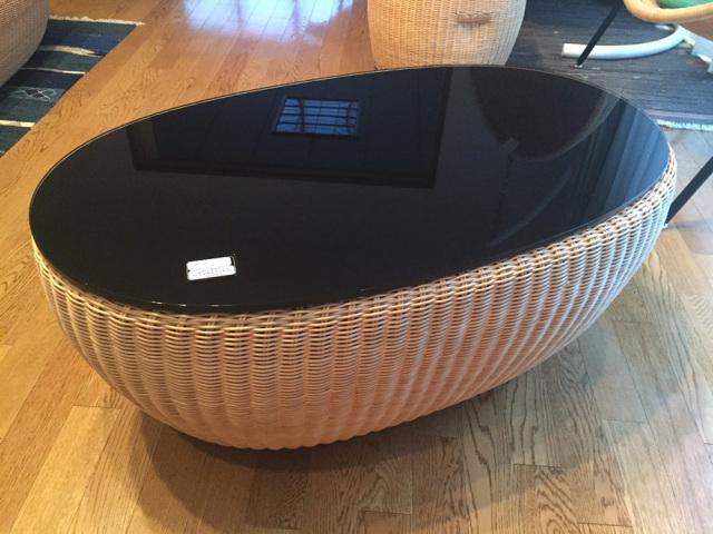 フルーツボウル コーヒーテーブル YR-FB-TL-100-90 サイズ(cm) W:90 D:52 H:36 天然ラタン、強化ガラス | 【受注生産】 【受注生産 | 送料無料】