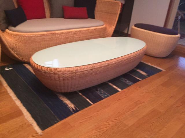 フルーツボウル テーブル YR-FB-TL-100-135 サイズ(cm) W:135 D:54 H:28 天然ラタン、強化ガラス | 【受注生産 | 送料無料】