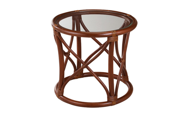 【即納】籐・ラタンのテーブル/丸型/直径47.5×H42.5/天板5MM強化ガラス使用/即納可能/送料無料/IR-NO.11D