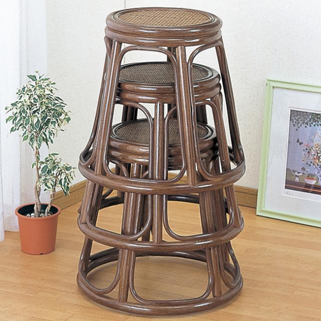 3脚セット【即納】籐・ラタンのスツール/椅子/積み重ね可能/座面直径32×H42/即納可能/送料無料