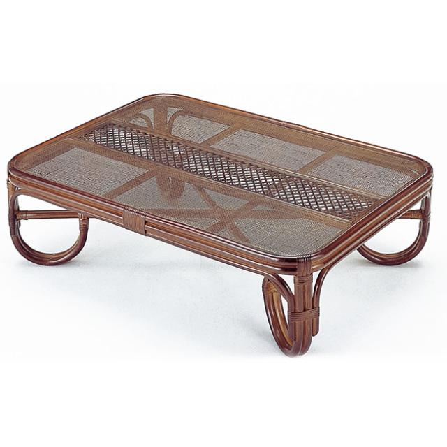 籐・ラタンの座卓 ローテーブル / 120cm × 90cm 高さ36cm IR-T124B【送料無料】