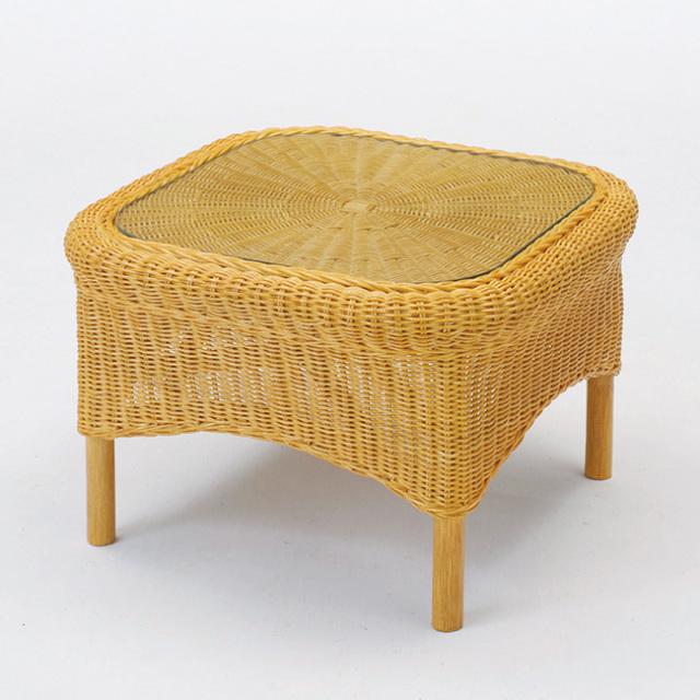 【即納】籐・ラタンのガラストップサイドテーブル 軽量コンパクト / 幅53 × 奥行53 × 高さ35