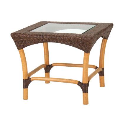 正方形のガラストップサイドテーブル YR-TC-260-CB サイズ(cm) W:60 D:60 H:50 天然ラタン | 【受注生産 | 送料無料】