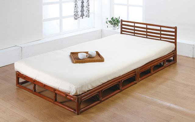 【即納】籐・ラタンのベッド/シングルフレーム/スノコタイプ/開梱設置半額サービス付/即納可能/W102×D204×H77(SH26)/通気性抜群/オールシーズン/送料無料/IR-W-009-1D