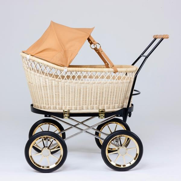 籐・ラタンの乳母車/ベビーカー/ベージュ幌/送料無料/PP-21