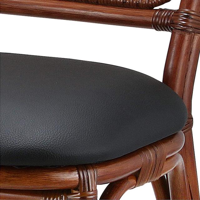 【即納】籐・ラタンのダイニングチェア/椅子/座面合成皮張/W42×D58×H85(SH47.5)/即納可能/送料無料/IR-B-107D