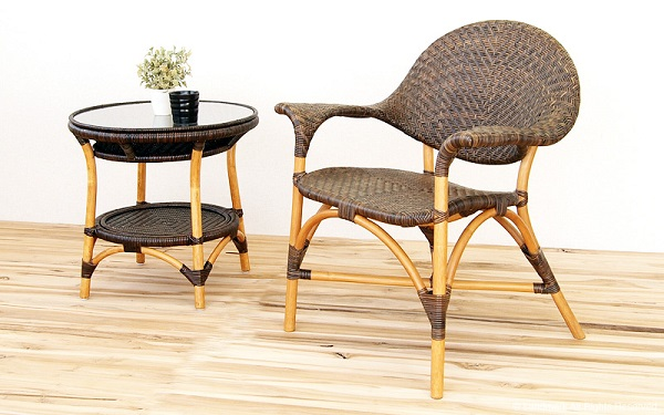 籐・ラタンの網代編みが美しいガラスサイドテーブルKT-114CB
