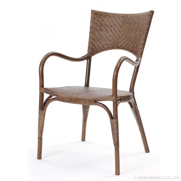 籐・ラタンのアーム付ダイニングチェア/椅子